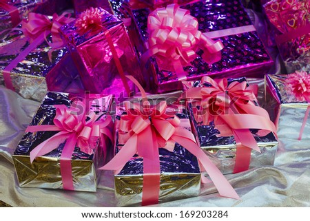 Christmas gift boxes in shiny light #169203284