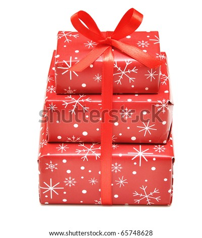christmas gift boxes isolated on the white background