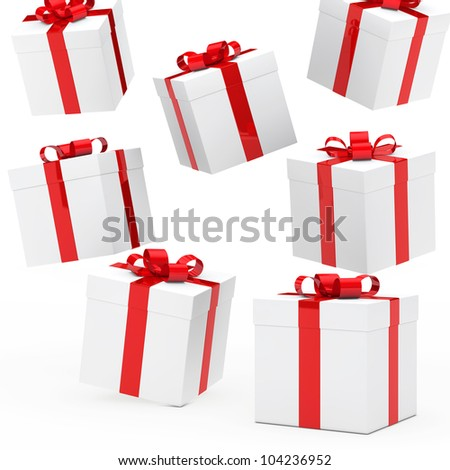 christmas gift boxes red white falling down - stock photo