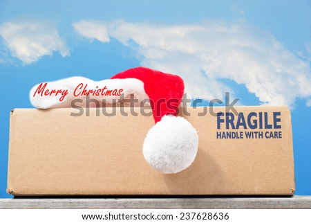 Christmas gift delivery concept, fragile handle with care