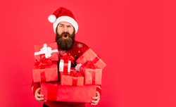 Christmas gift. Feel real generosity. Live in abundance. Prosperity and wellbeing. Boxing day. Shopping concept. Good purchase. Achieve success. Santa Claus. Merry Christmas. Christmas tradition.