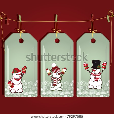 Christmas gift labels with elements of the Christmas decor. - stock photo