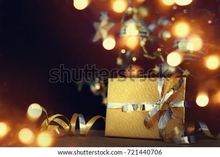 christmas gift on lights background