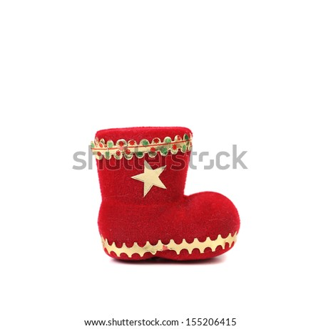 Christmas gift red boot. Isolated on a white background.