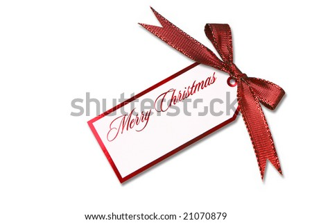 Christmas Gift Tag Bow and Ribbon On White Background