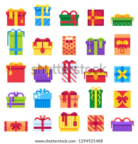 Christmas Gift. Winter festive presents box, secret Santa happy holiday gifts wrap packaging and square holidays birthday or Xmas present boxing, surprise isolated  icons set
