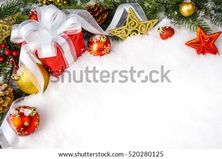 christmas gift with decoration on white background. xmas day #520280125
