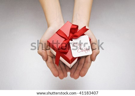 christmas gift with decorative red ribbon bow
