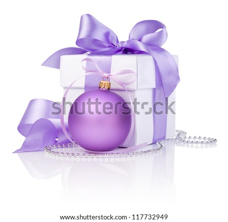 Christmas gift with Purple Ball and ribbon bow isolated on white background
