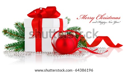 christmas gift with red balls bow and branch firtree isolated on white background