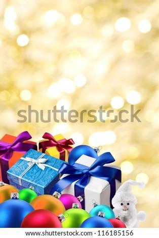 Christmas gifts and balls. - stock photo