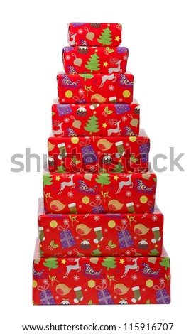Christmas gifts in a pyramid stack isolated on white background.