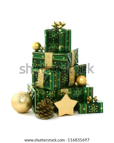 Christmas gifts isolated on white background