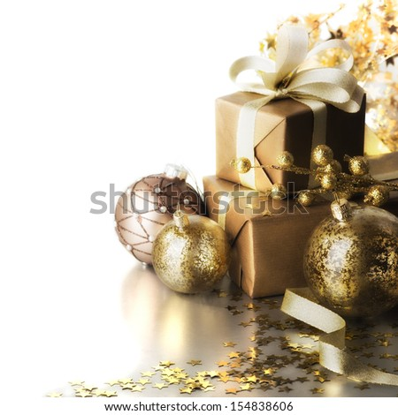 christmas gifts on white background #154838606