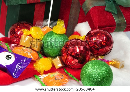 Christmas gifts opened having bells and candies