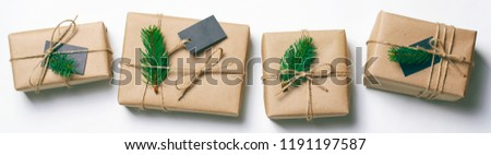 Christmas Gifts with Fir Branches on White Background, Winter Holidays Concept
