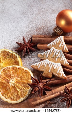 Christmas gingerbread cookie and spices.