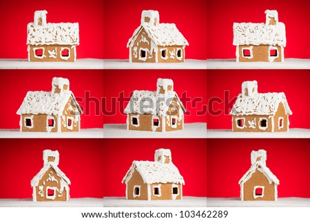 christmas gingerbread cookie house with shugar snow on roof