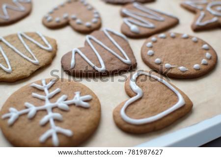 Christmas gingerbread cookies #781987627