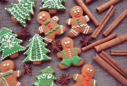Christmas gingerbread cookies and dried orange