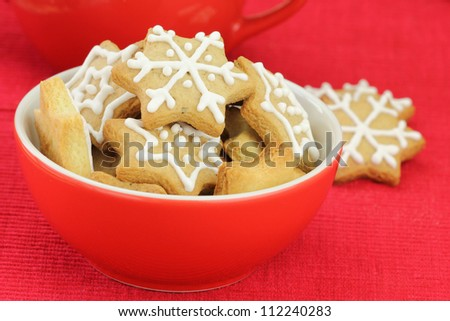 Christmas Gingerbread Cookies Decorated With Royal Icing Stock Photo ...