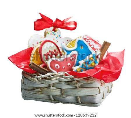 Christmas gingerbread cookies in a basket