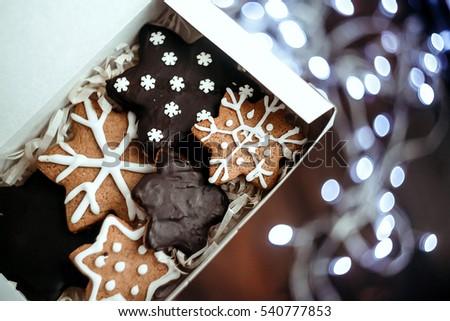 Christmas gingerbread handmade in paper box #540777853