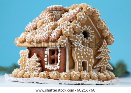 Christmas gingerbread house. Shallow dof