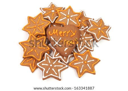 Christmas gingerbread isolated on white background