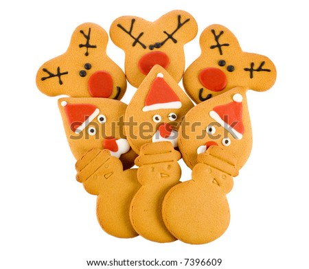 christmas gingerbread, reindeer,santa,snowman isolated
