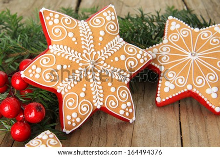 Christmas gingerbread sugar star cookie. Also available in vertical.