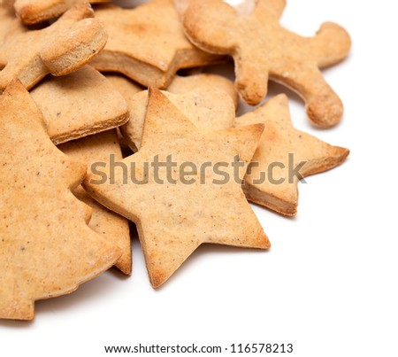 christmas gingerbread tree cookies isolated on white background