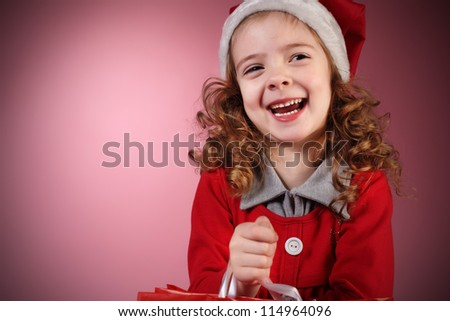 christmas girl on red background