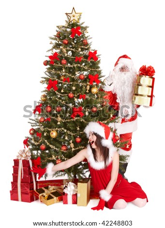 Christmas girl, santa clause and fir tree with gift box group. Isolated.