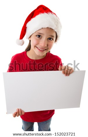 Christmas girl standing with empty horizontal blank in hands, above view, isolated on white