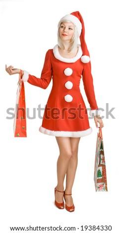 Christmas  girl with bag. Shopping.
