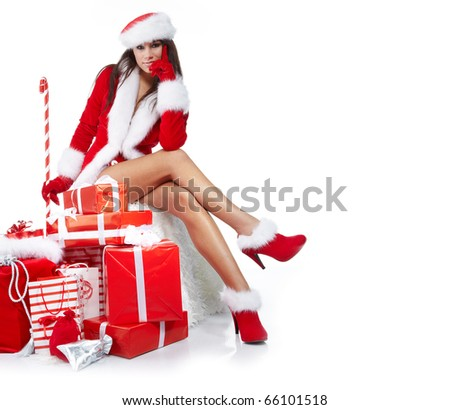 Christmas girl with gifts