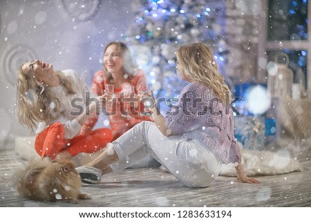 Christmas girlfriend girlfriend / girls drink champagne on New Year's holiday, women on holiday #1283633194