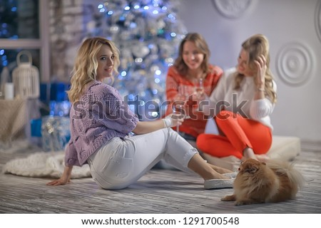 Christmas girlfriend girlfriend / girls drink champagne on New Year's holiday, women on holiday #1291700548