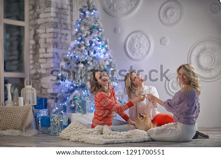 Christmas girlfriend girlfriend / girls drink champagne on New Year's holiday, women on holiday #1291700551