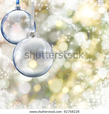 Christmas glass ball on glowing background