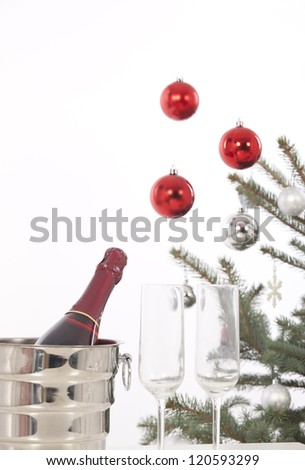 Christmas glasses of champagne, Christmas tree and gifts, New Year party