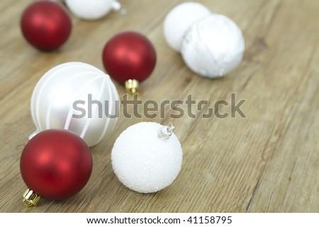 Christmas glitter balls lieing on floor