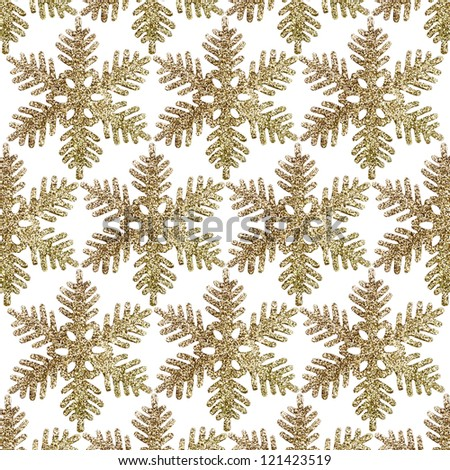 Christmas Glitter Snowflake isolated on white background , seamless.