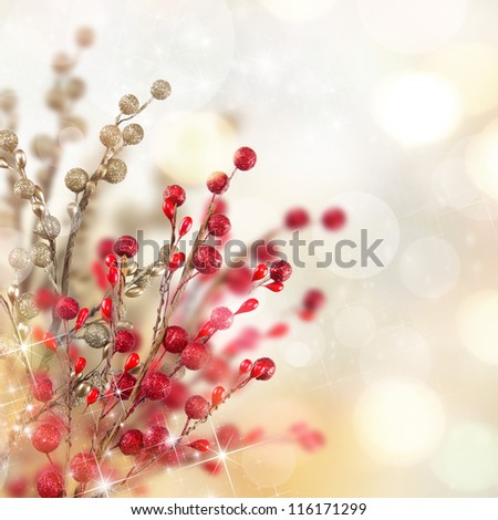 Christmas gold and red decoration - stock photo