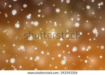 Christmas gold background. The winter background, falling snowflakes #343343306