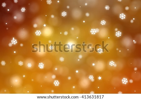 Christmas gold background with falling snowflakes. #413631817