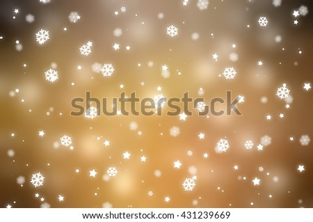 Christmas gold background with falling snowflakes. #431239669