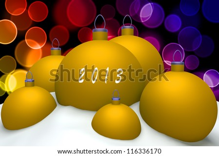 Christmas gold balls with mark 2013 in snow on color bokeh background 3d concept