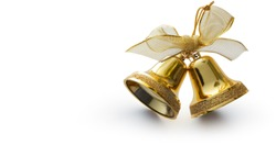 Christmas gold colour ring bell on white background.